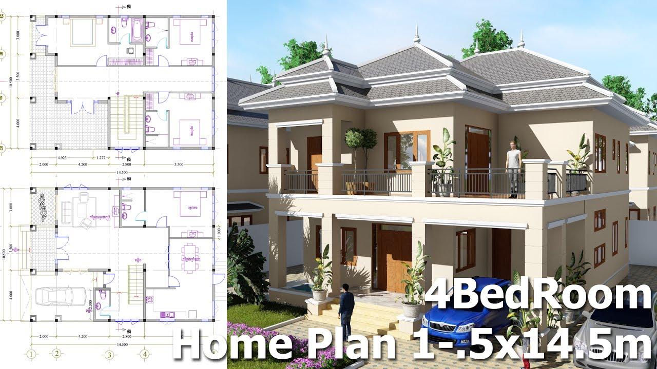 4 bedroom villa design idea 105m x145m