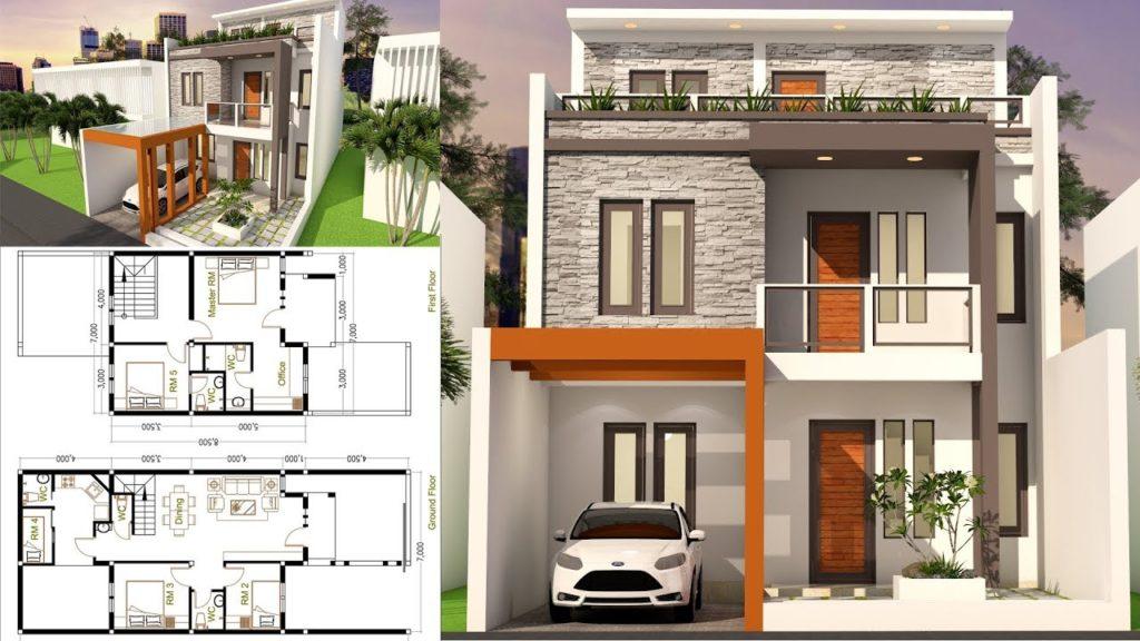 5 Bedrooms Home Design Plan 7x17 - SamPhoas Plan