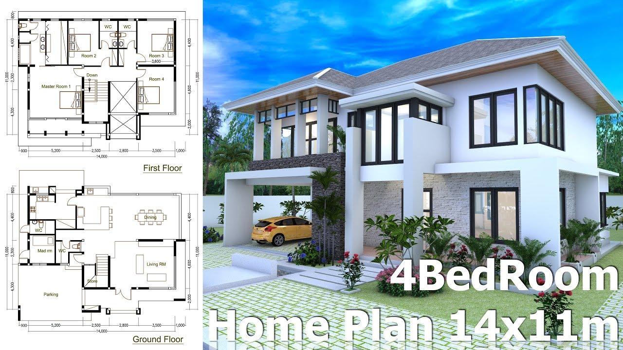 4 bedrooms home design plan size 14x11m