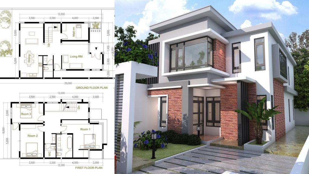 4 Bedroom Modern Home Plan Size 8x12m Sam Phoas Home