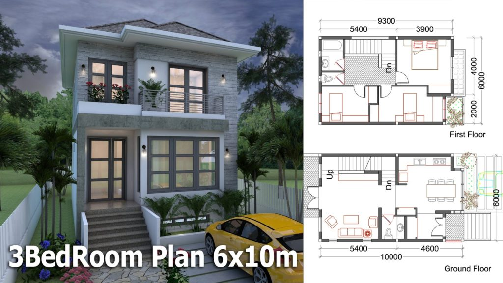 SketchUp Small Home Design Plan 6x10m 1024x576 1 - Download Three Bedroom Small House Design 3 Bedroom Background