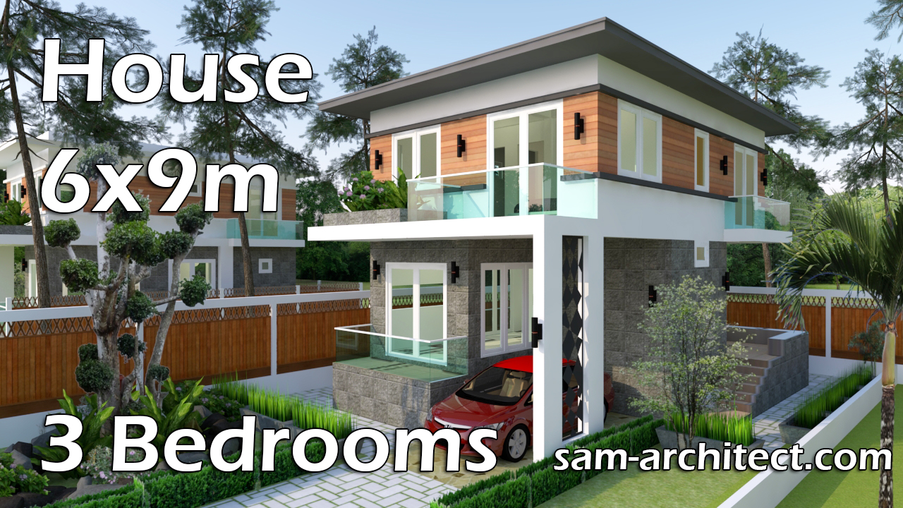 Modern house 6x9m with 3 bedrooms