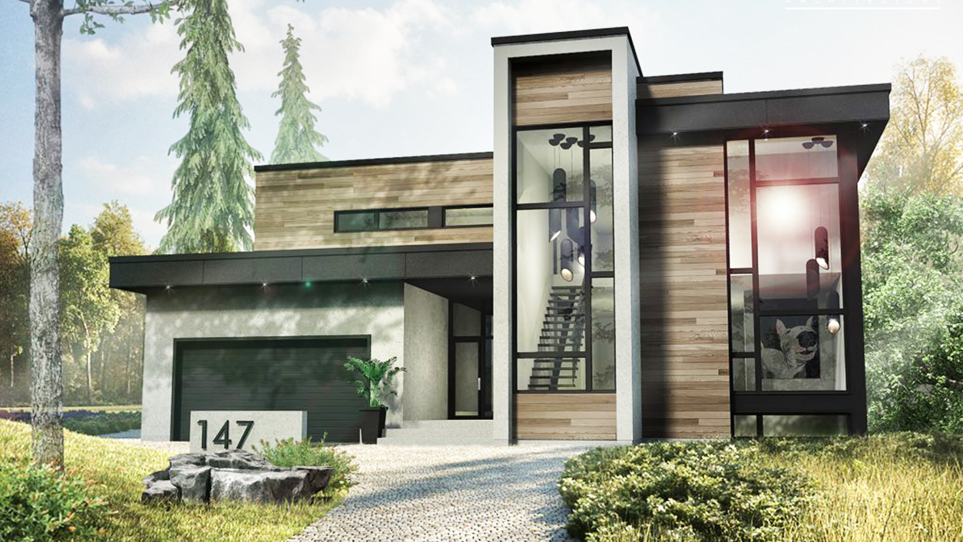 This 2 story modern house style 53x47 with basement has 4 bedrooms