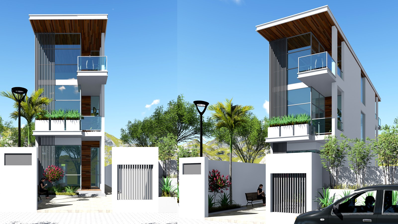 Narrow House Sketchup Exterior Modeling W45m N01 - 28+ Small House Design Front  Images