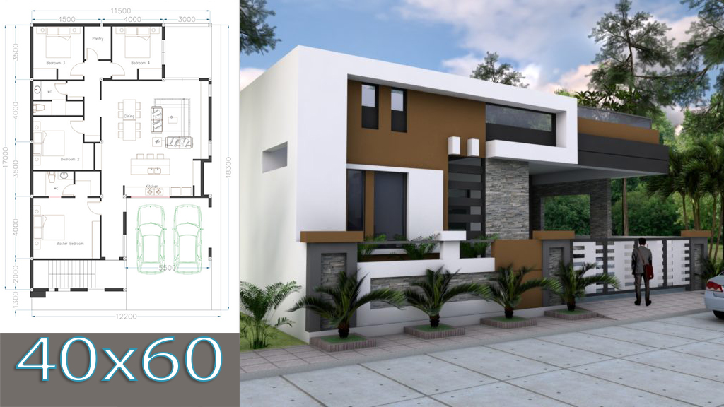 One Story House Plan 40x60 Sketchup Home Design