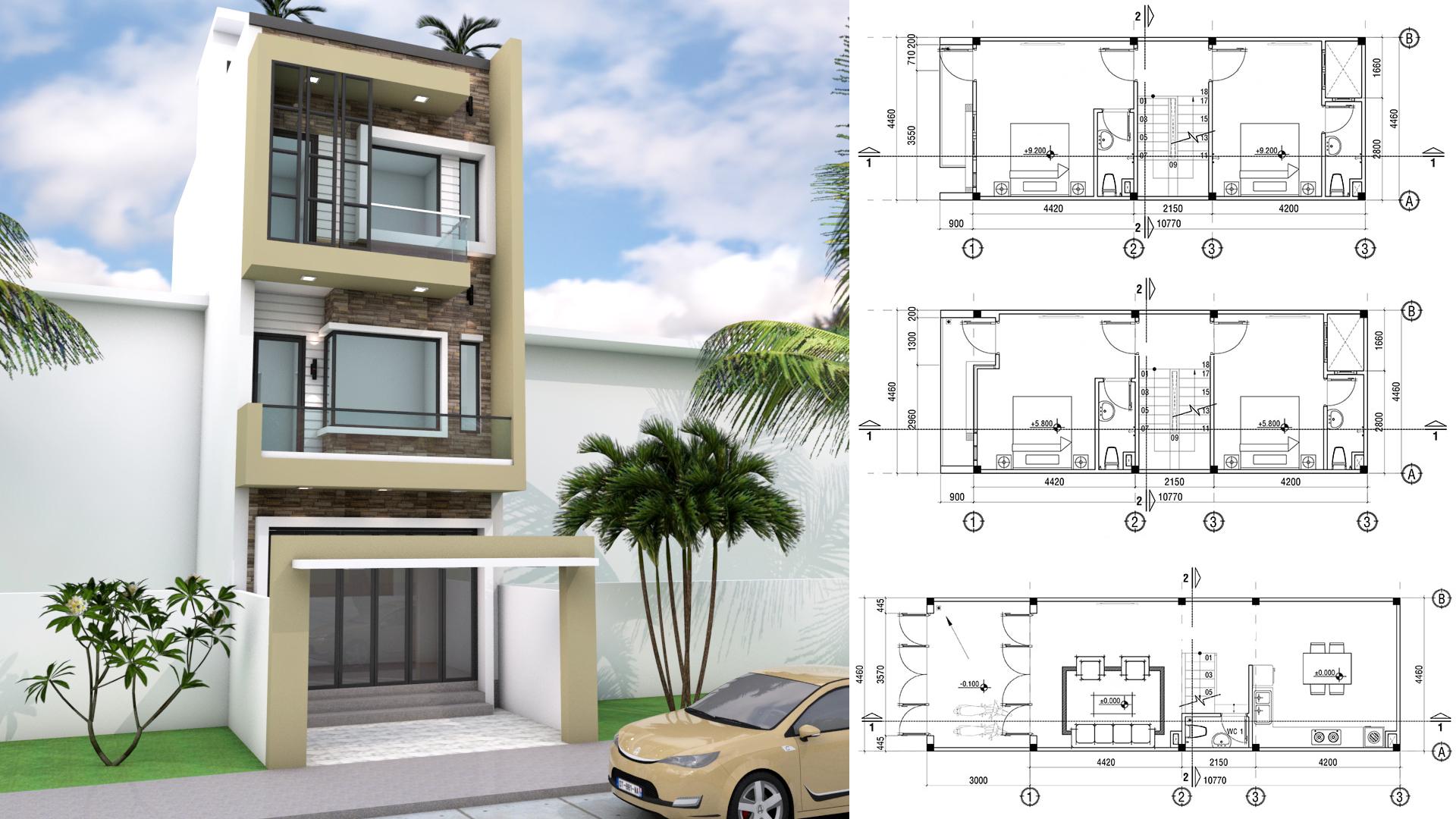 4.5x11m Narrow Home Lot Design - Sam Phoas Home