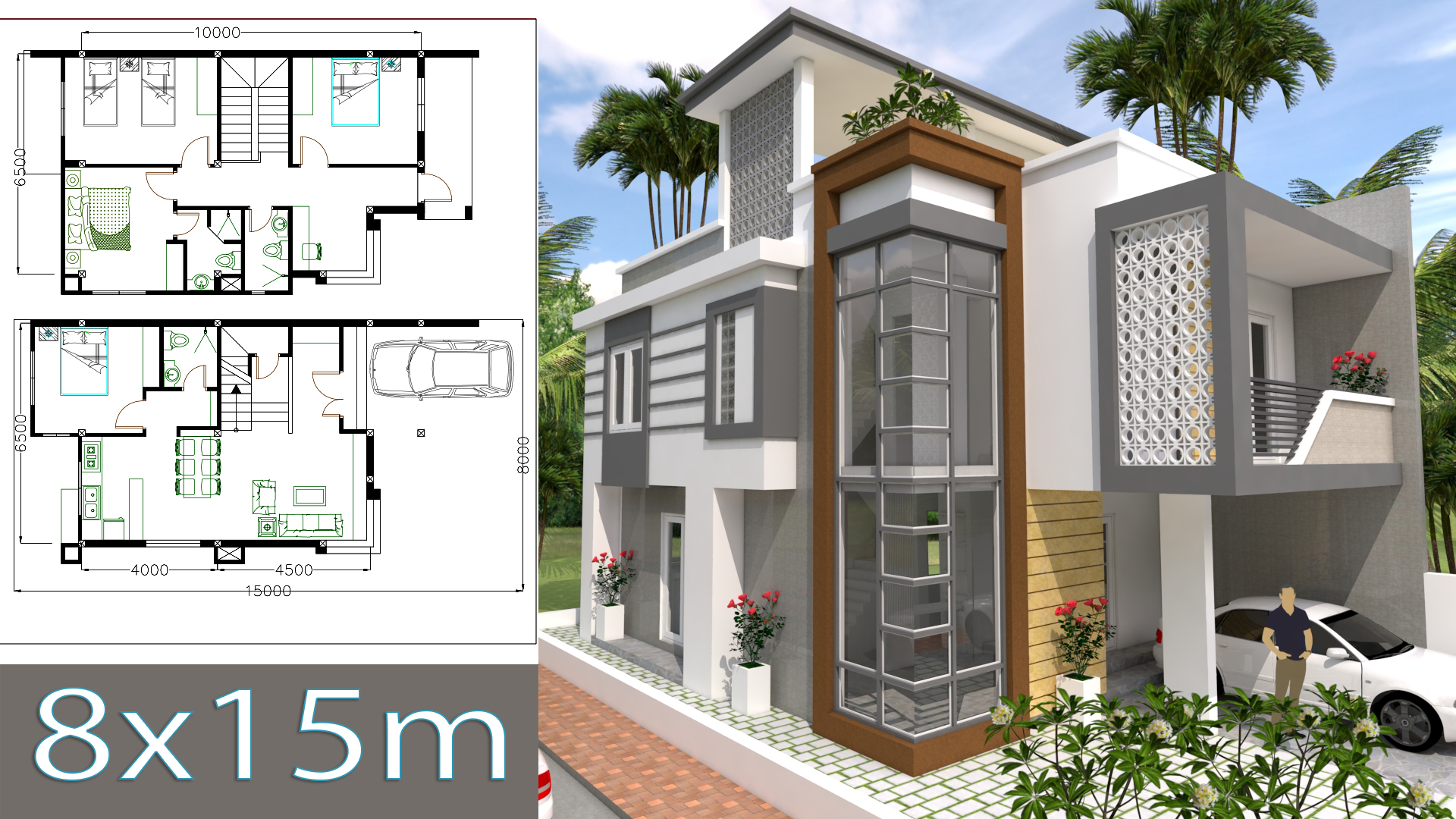 Home design plan 8x15m with 4 bedrooms
