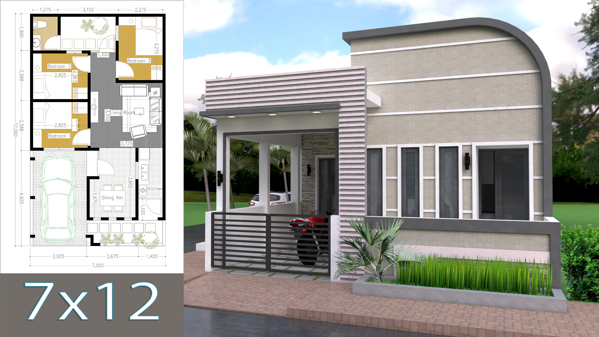 One Story Home Design Plan 7x12m