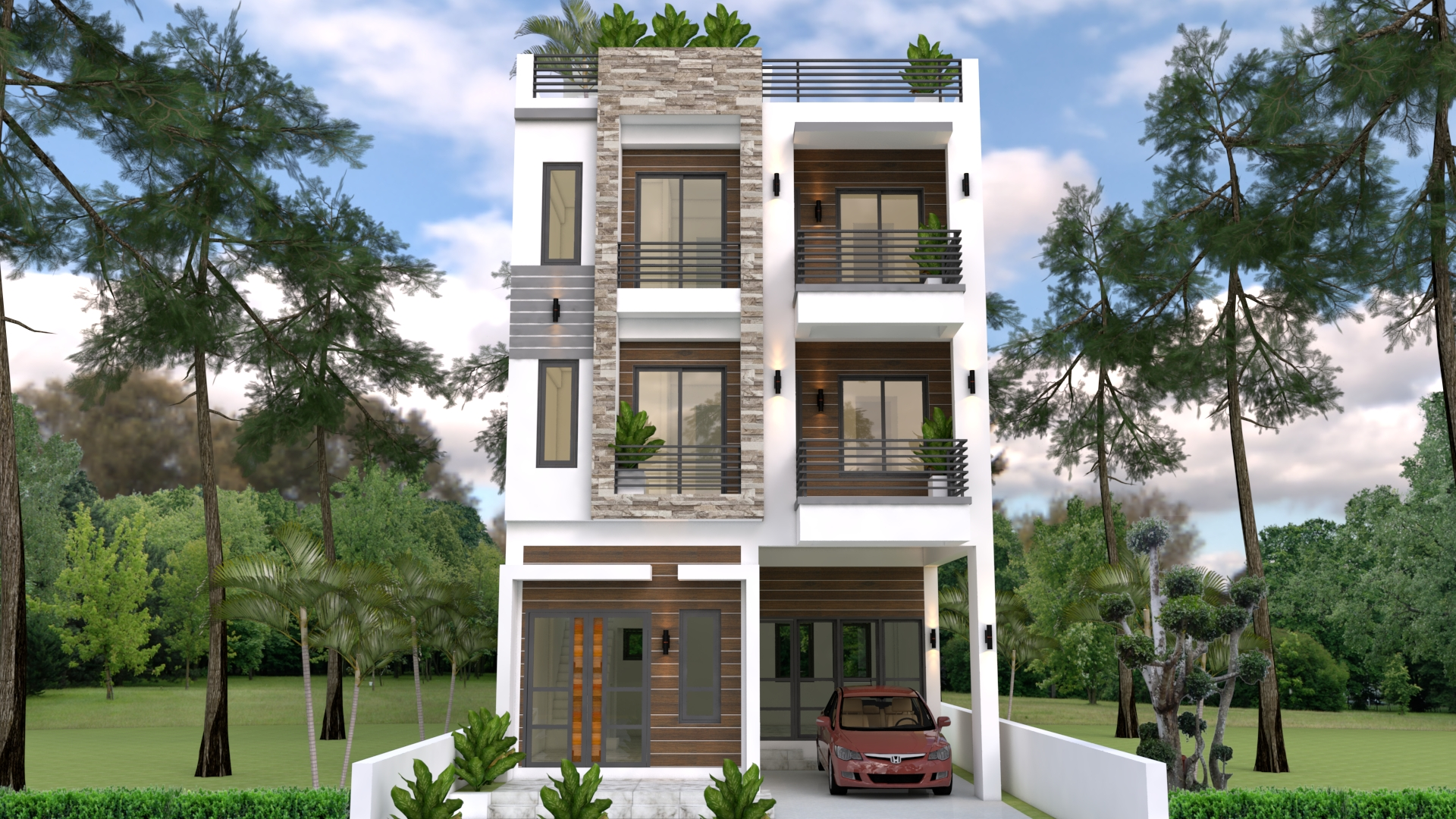 Home Design Plan 7x10m with 6 Bedrooms