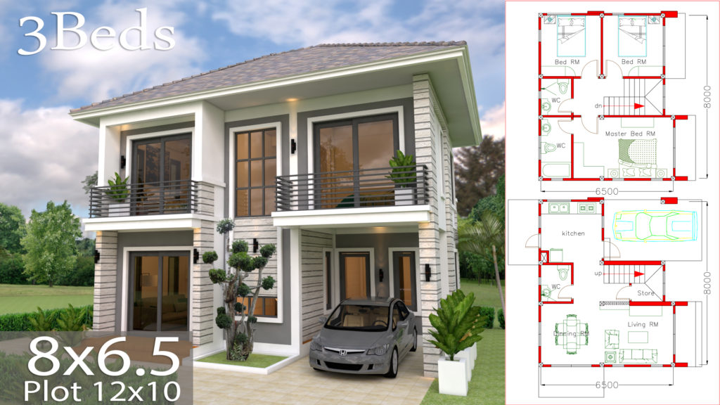 Home Design Plan 8x65m With 3 Bedrooms