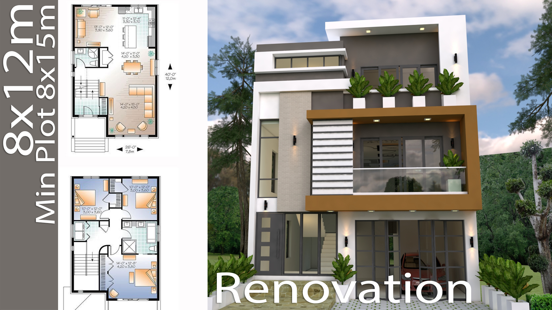 Renovation home design plan 8x12m this villa is modeling by sam architect with three stories level its has 3 bedrooms