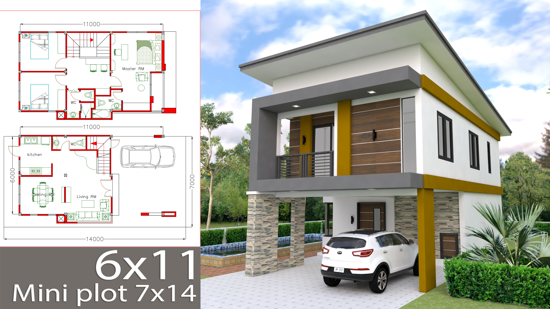 Small Home Design Plan 6x11m With 3 Bedrooms Samphoas Plan