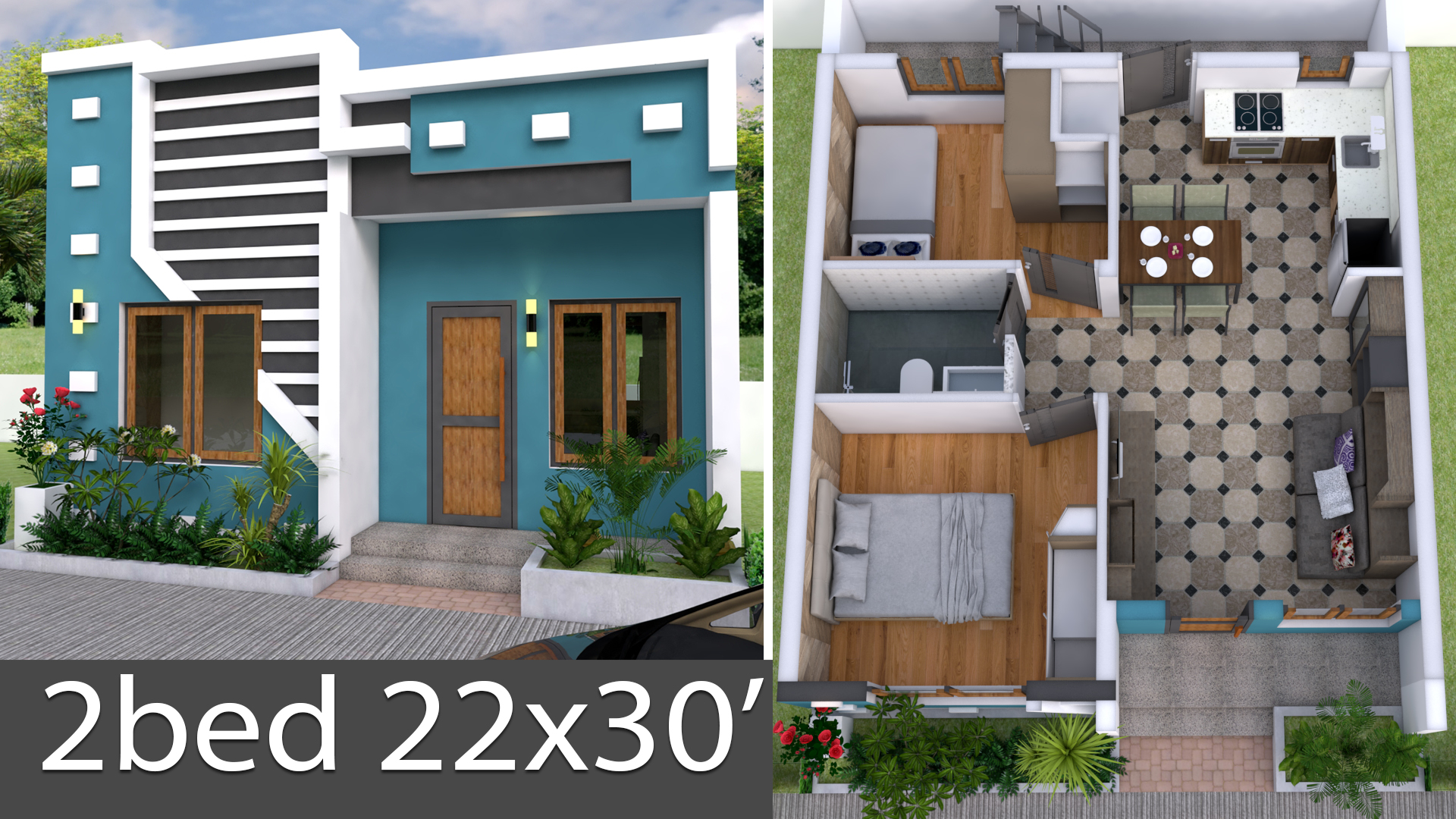 3d Simple House Plan With Two Bedrooms 22x30 Feet Samphoas Plan